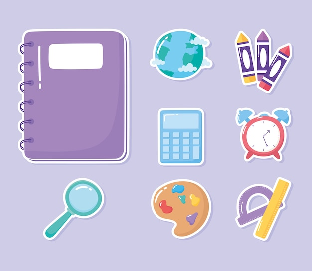 Onderwijs notebook rekenmachine liniaal gradenboog kleurpotloden school elementaire cartoon pictogrammen illustratie