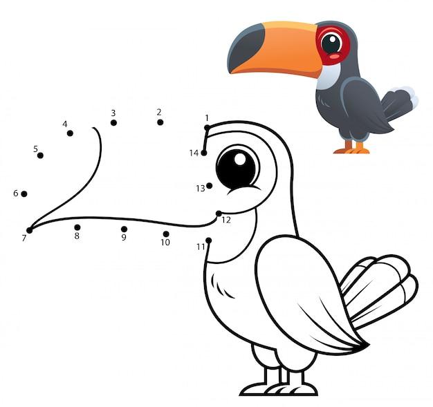 Onderwijs nummers spel. dot to dot game. toucan cartoon