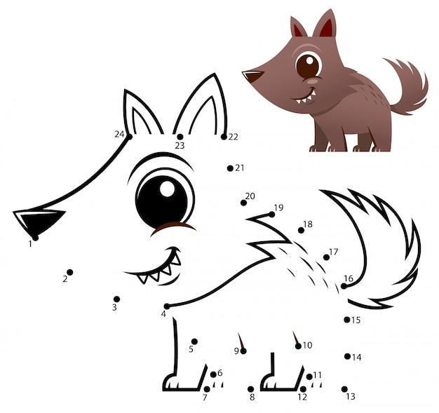 Onderwijs nummers spel. dot to dot game. wolf cartoon