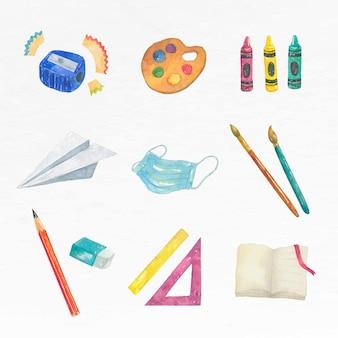 Onderwijs object vector aquarel set educatieve afbeelding