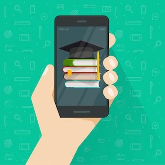 Onderwijs of kennis via mobiele telefoon of boeken op mobiel