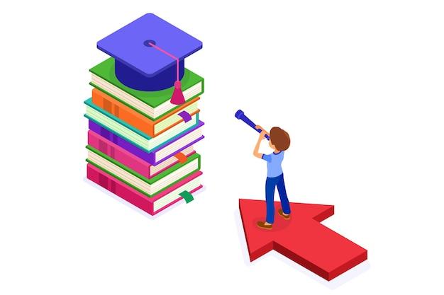 Onderwijs of zakelijk succes. isometrische student die op pijl staat en door telescoop op boeken kijkt nieuwe kansen die verwezenlijkingen van gediplomeerde doelstellingen leren. onderwijskracht. nieuwe horizonten