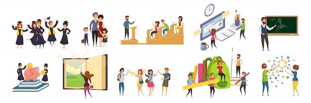 Onderwijs, onderwijs, afstuderen, studie, leren set concept