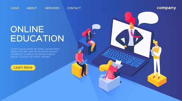 Onderwijs online bij computerlaptop, illustratie. bedrijfsmensen cartoon karakter opleiding in digitale internet school.