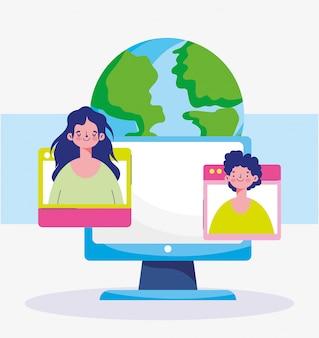 Onderwijs online, computer mensen studentenwereld leren virtueel