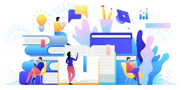 Onderwijs online concept technologie. e-boeken, internetcursussen en afstudeerproces.