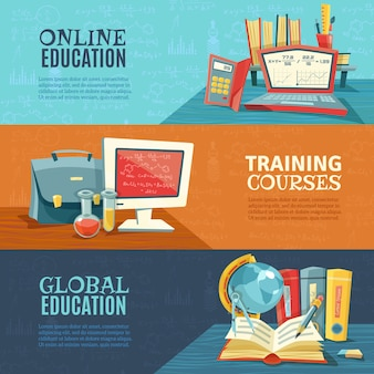 Onderwijs online cursussen banners set