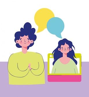Onderwijs online, jongen en meisje praten digitale verbinding