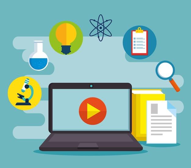 Onderwijs online met laptop