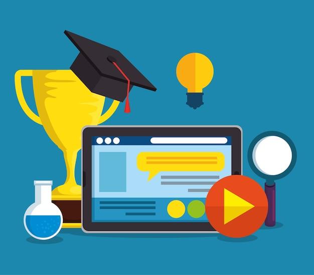Onderwijs online met tablet