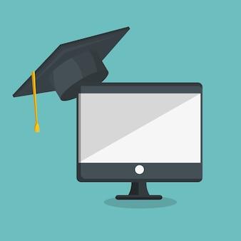 Onderwijs online plat pictogrammen vector illustratie ontwerp