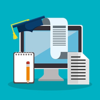 Onderwijs online plat pictogrammen