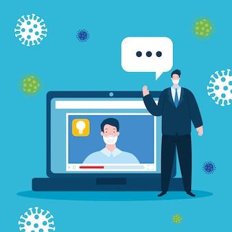 Onderwijs online technologie met mannen en pictogrammen