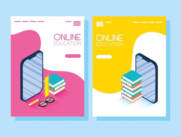 Onderwijs online technologie met smartphones