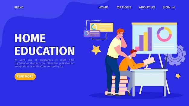 Onderwijs online thuis, illustratie. mensen student karakter leren op internet door technologie op afstand. studie