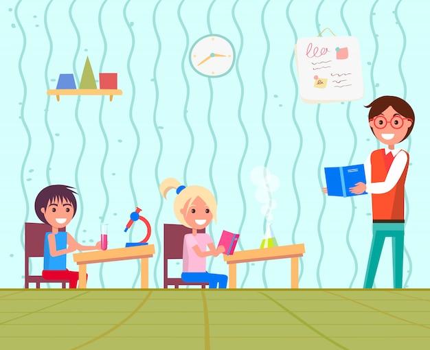 Onderwijs op school met scheikunde les voor kinderen