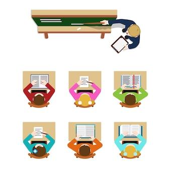 Onderwijs opleiding klasse leraar coach schoolbord en student leerling. flat top table view concept school klas tafels. website creatieve mensen conceptuele collectie.