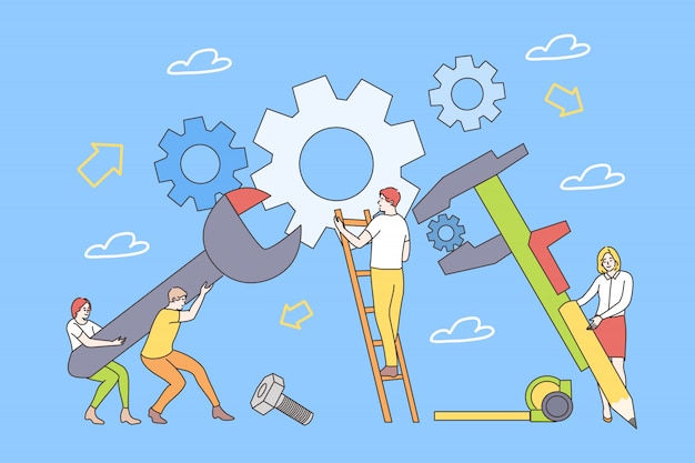 Onderwijs, opleiding, reparatie, teamwork concept