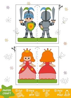 Onderwijs paper crafts voor kinderen, ridder en prinses. gebruik een schaar en lijm om de afbeelding te maken.