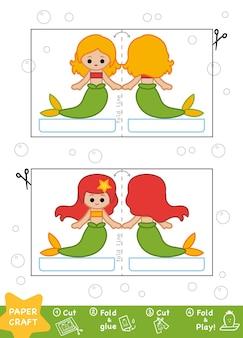 Onderwijs paper crafts voor kinderen, zeemeerminnen. gebruik een schaar en lijm om de afbeelding te maken.