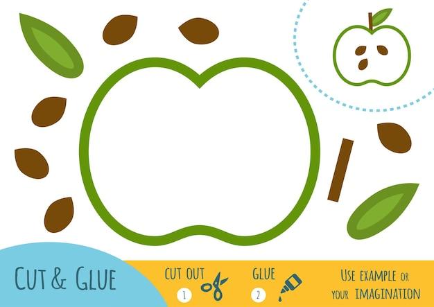 Onderwijs papier spel voor kinderen, apple. gebruik een schaar en lijm om de afbeelding te maken.