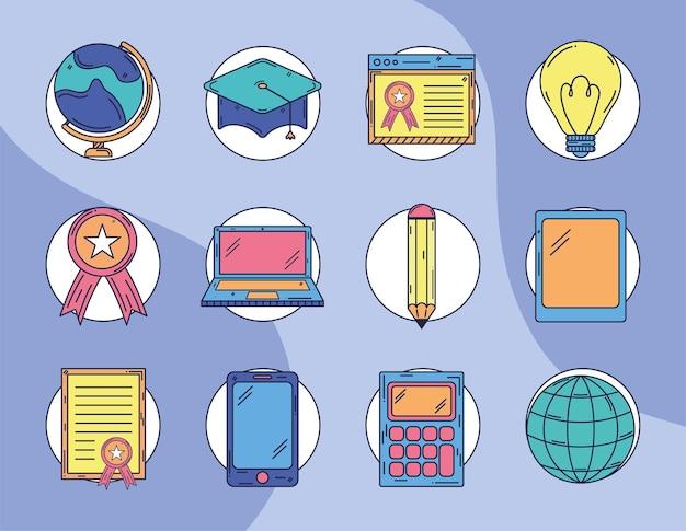 Onderwijs pictogrammen bundel