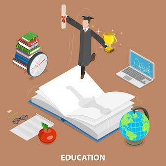 Onderwijs plat isometrisch concept