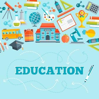 Onderwijs plat ontwerp