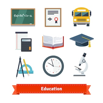 Onderwijs plat pictogram set