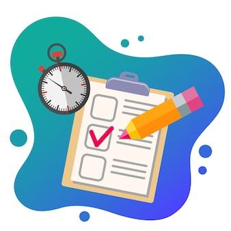 Onderwijs platte set. test potlood en stopwatch. geïsoleerd