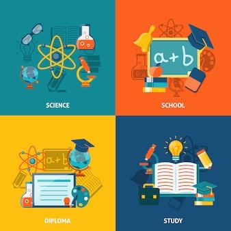 Onderwijs platte set