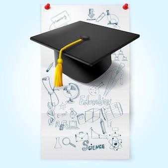 Onderwijs schets met hoed