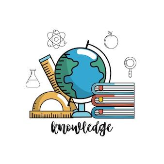 Onderwijs school kennis en gebruiksvoorwerpen ontwerp