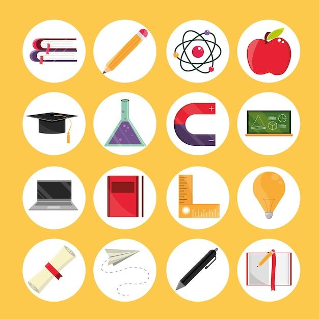 Onderwijs school pictogrammen instellen
