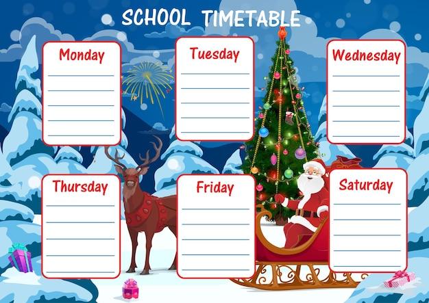 Onderwijs school tijdschema cartoon kerstman