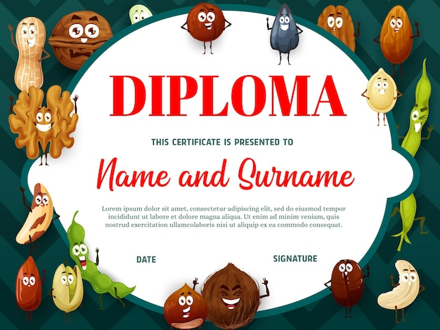 Onderwijs schooldiploma met cartoon noten en zaden karakters. kleuterschool certificaat met walnoot, kokos en pistache, bonen of zonnebloempitten. kinderdiploma, kadersjabloon toekennen