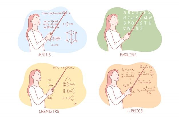 Onderwijs schoolvakken ingesteld concept