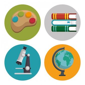 Onderwijs set lijn illustraties