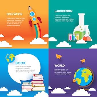 Onderwijs sjabloon set, met boek en globe