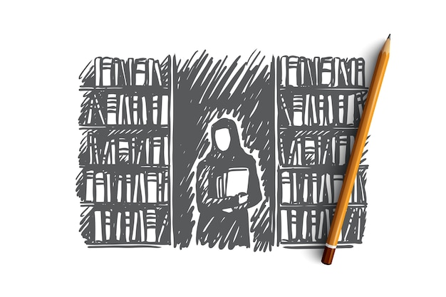 Onderwijs, student, moslim, islam, bibliotheekconcept. hand getekend moslimvrouw in bibliotheek met boeken concept schets.