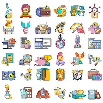 Onderwijs subsidie iconen set, cartoon stijl