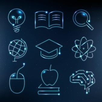 Onderwijs technologie blauwe iconen vector digitale en wetenschap grafische set