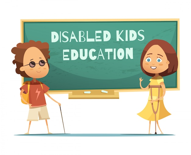 Onderwijs voor gehandicapte kinderen ontwerpen met blinde jongen en meisje