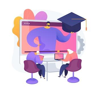 Onderwijs voor ouderen. senior paar mensen kijken naar online cursussen op laptop, academische graad behalen. webinar, internetseminar.