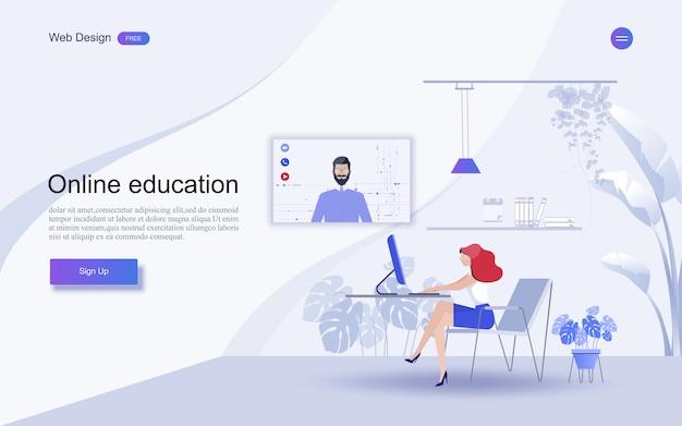 Onderwijs voor website en landingspagina sjabloon. online onderwijs, training en cursussen, leren,