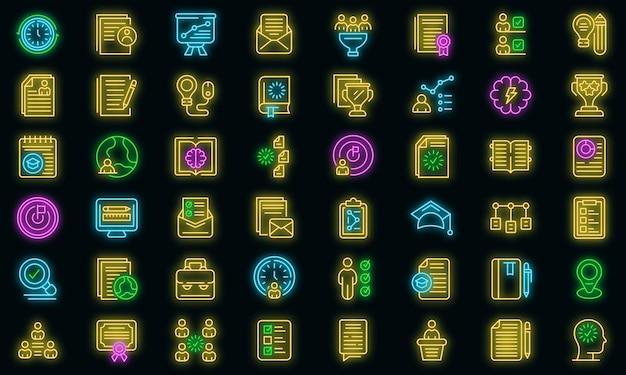 Onderwijs werkstroom icoon. overzicht onderwijs workflow vector pictogram neon kleur op zwart