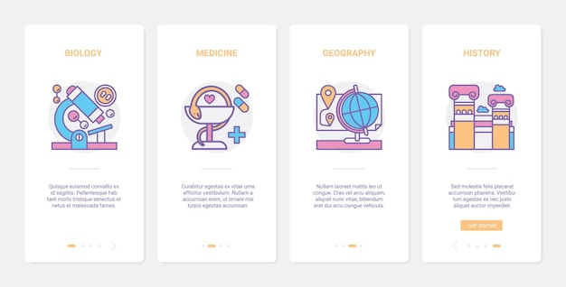 Onderwijs wetenschap lijnsymbolen ux onboarding mobiele app-paginaschermset