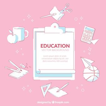 Onderwijsachtergrond in vlakke stijl