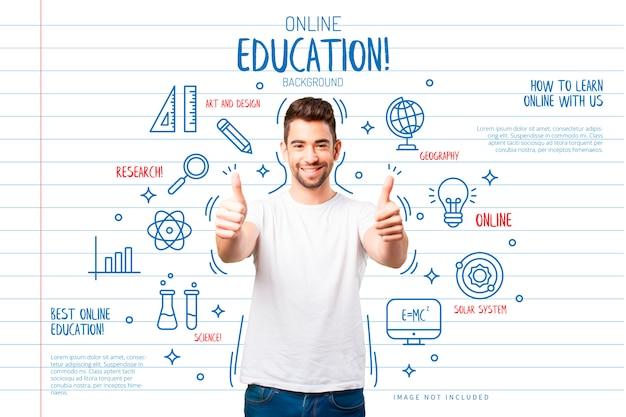 Onderwijsachtergrond met grappige pictogrammen