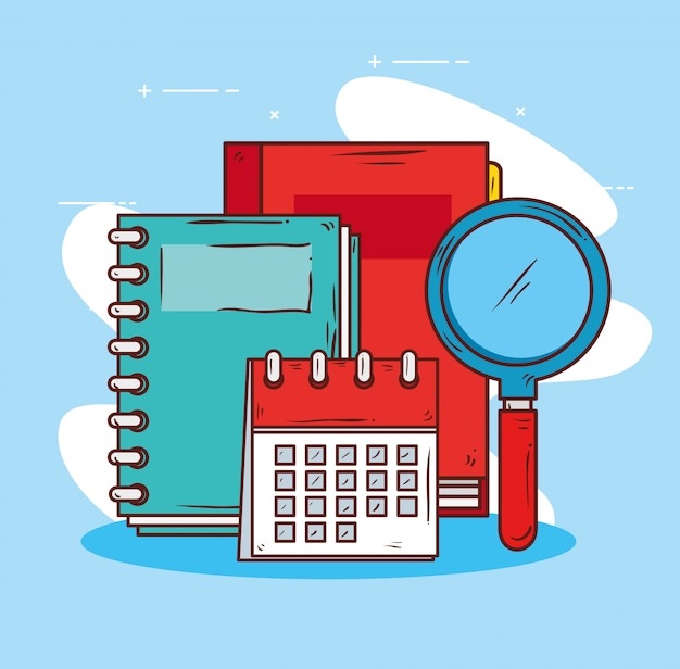 Onderwijsconcept, boeken met kalender en ontwerp van de vergrootglas het vectorillustratie
